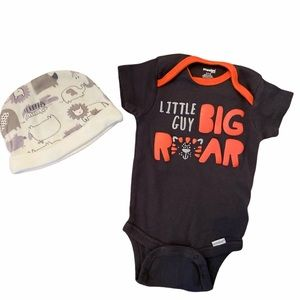 ✨3 for $30✨New Baby Boys Snap Shirt & Hat 0-3M